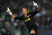FC Barcelona's Victor Valdes celebrates goal during the UEFA Champions League Final match in Roma.