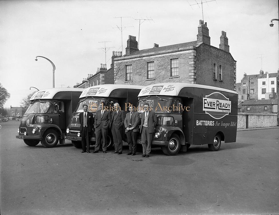 24/04/1962<br /> 04/24/1962<br /> 24 April 1962<br /> Austin Ever Ready Vans<br /> A fleet of Austin Ever Ready Vans on Baggot Street.