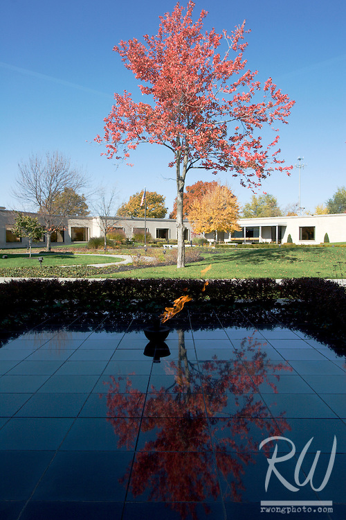 Eternal Flame and Fall Color Trees in Courtyard, Harry S. Truman Presidential Museum and Library, Independence, Missouri