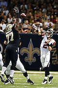 NEW ORLEANS, LA - NOVEMBER 11:  Matt Ryan #2 of the Atlanta Falcons throws a pass over Brodrick Bunkley #77 of the New Orleans Saints at Mercedes-Benz Superdome on November 11, 2012 in New Orleans, Louisiana.  The Saints defeated the Falcons 31-27.  (Photo by Wesley Hitt/Getty Images) *** Local Caption *** Matt Ryan; Brodrick Bunkley