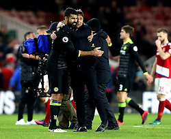 Chelsea manager Antonio Conte hugs Diego Costa of Chelsea after the win over Middlesbrough - Mandatory by-line: Robbie Stephenson/JMP - 20/11/2016 - FOOTBALL - Riverside Stadium - Middlesbrough, England - Middlesbrough v Chelsea - Premier League