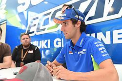 August 9, 2018 - Spielberg, Austria - 42 Spanish driver Alex Rins of Team Suzuki ECSTAR speak with press on Suzuki ECSTAR ospitality before Austrian GP weekend in Spielberg, Austria, on August 9, 2018. (Credit Image: © Andrea Diodato/NurPhoto via ZUMA Press)