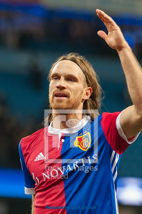 Michael Lang of Basel applauds fans following the UEFA Champions League match at the Etihad Stadium, Manchester<br /> Picture by Matt Wilkinson/Focus Images Ltd 07814 960751<br /> 06/03/2018