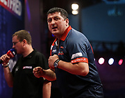 Mensur Suljovic during the World Matchplay Darts 2019 at Winter Gardens, Blackpool, United Kingdom on 23 July 2019.