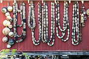 Old net floats decorate the wall of an old wooden boathouse along Hammer Slough in Petersburg, Mitkof Island, Alaska. Petersburg settled by Norwegian immigrant Peter Buschmann is known as Little Norway due to the high percentage of people of Scandinavian origin.
