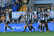 Notts County players celebrate Notts County Ryan Yates(22) goal during the EFL Sky Bet League 2 match between Notts County and Barnet at Meadow Lane, Nottingham, England on 14 October 2017. Photo by Mick Haynes.