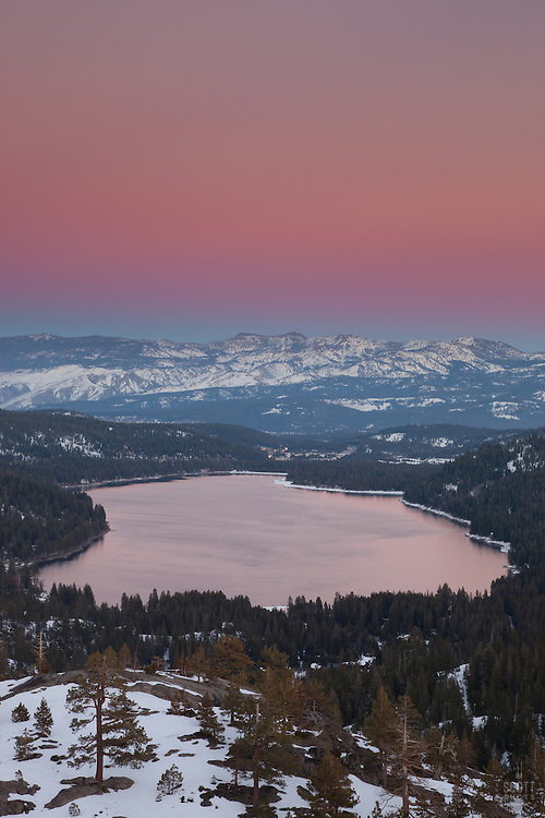 """Alpenglow at Donner Lake 1"" - This alpenglow was photographed above Donner Lake and Truckee, CA."