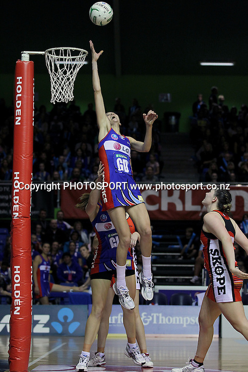 Mystics' Anna Harrison and Jessica Moulds attempt the 'Harrison Hoist'. ANZ Netball Championship, Northern Mystics v Canterbury Tactix, Trusts Stadium, Auckland, New Zealand. Sunday 27th May 2012. Photo: Anthony Au-Yeung / photosport.co.nz