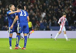 Leonardo Ulloa of Leicester City (R) celebrates scoring his sides third goal - Mandatory byline: Jack Phillips/JMP - 23/01/2016 - FOOTBALL - King Power Stadium - Leicester, England - Leicester City v Stoke City - Barclays Premier League