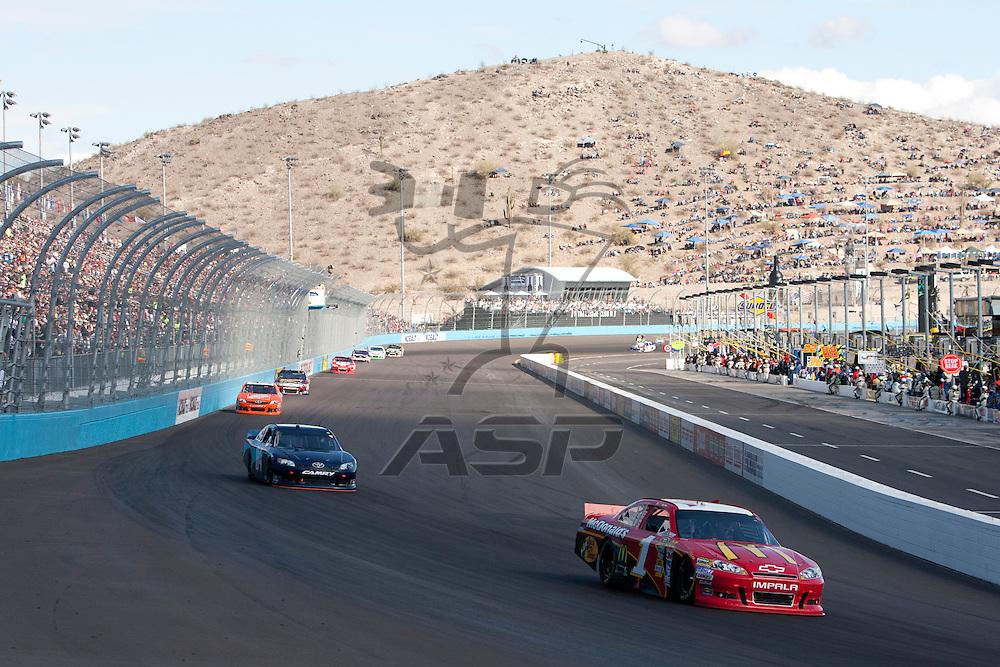 Avondale, AZ - NOV 13, 2011: Jamie McMurray (1) races for the Kobalt Tools 500 race at the Phoenix International Raceway in Avondale, AZ.