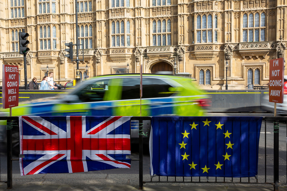 The EU flag and Union Jack attached to the barrier by the pro EU demonstrators who have been outside parliament on a daily basis since September 2017 after the country voted to leave the European Union. House of Commons, Westminster, London, United Kingdom  (photo by Andrew Aitchison / In Pictures via Getty Images)
