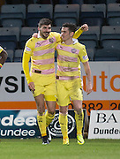 Hearts&rsquo; Callum Paterson is congratulated by Jamie Walker after scoring - Dundee v Hearts in the Ladbrokes Scottish Premiership at Dens Park, Dundee. Photo: David Young<br /> <br />  - &copy; David Young - www.davidyoungphoto.co.uk - email: davidyoungphoto@gmail.com