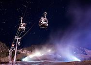 Snowmaking at night on Aspen Mountain in Aspen, Colorado.
