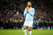 Manchester City midfielder Raheem Sterling (7) can't believe he's missed his penalty in the shoot out during the quarter final of the EFL Cup match between Leicester City and Manchester City at the King Power Stadium, Leicester, England on 18 December 2018.