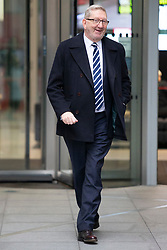 © Licensed to London News Pictures. 26<br /> /01/2020. London, UK. General Secretary of the Unite Union Len McCluskey departs the BBC after appearing on the Andrew Marr Show. Photo credit: George Cracknell Wright/LNP
