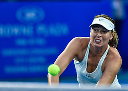 SHENZHEN, Jan. 5, 2018  Maria Sharapova of Russia serves during the semi-final match against Katerina Siniakova of the Czech Republic at the WTA Shenzhen Open tennis tournament in Shenzhen, China, Jan. 5, 2018. Maria Sharapova lost 1-2. (Credit Image: © Mao Siqian/Xinhua via ZUMA Wire)