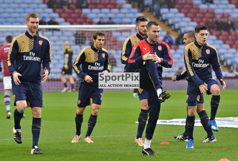 Arsenal players warm-up before the game at Villa......(c) BILLY WHITE | SportPix.org.uk
