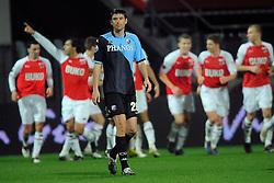 03-04-2010 VOETBAL: AZ - FC UTRECHT: ALKMAAR<br /> FC utrecht verliest met 2-0 van AZ / Jan Wuytens baalt als Mounir El Hamdaoui de 2-0 scoort uit een penalty<br /> ©2009-WWW.FOTOHOOGENDOORN.NL