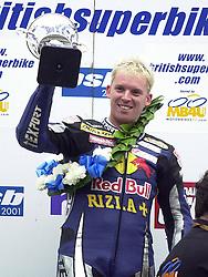 Sean Emmett Reve Red Bull Ducati, Winner Race 1, British Superbike Championship Round 12 Rockingham Raceway 30th September 2001