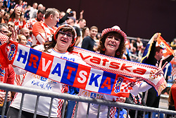 Croatian fans during the handball match between National teams of Serbia and Croatia in Group A of Men's EHF EURO 2020 on January 13, 2020 in Stadthalle Graz, Graz, Austria