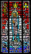 Stained glass image depicting Mary as Our Lady, Queen of the Universe, from Allouez Cemetery in Green Bay. (Photo by Sam Lucero)
