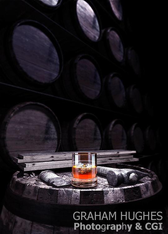 Whisky In Glass On Barrel With Tools, In front Of Wall Of Barrels