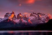 Sunrise Cuernos del Paine, Lago Peho, Torre del Paine, National Park, Patagonia, Chile.