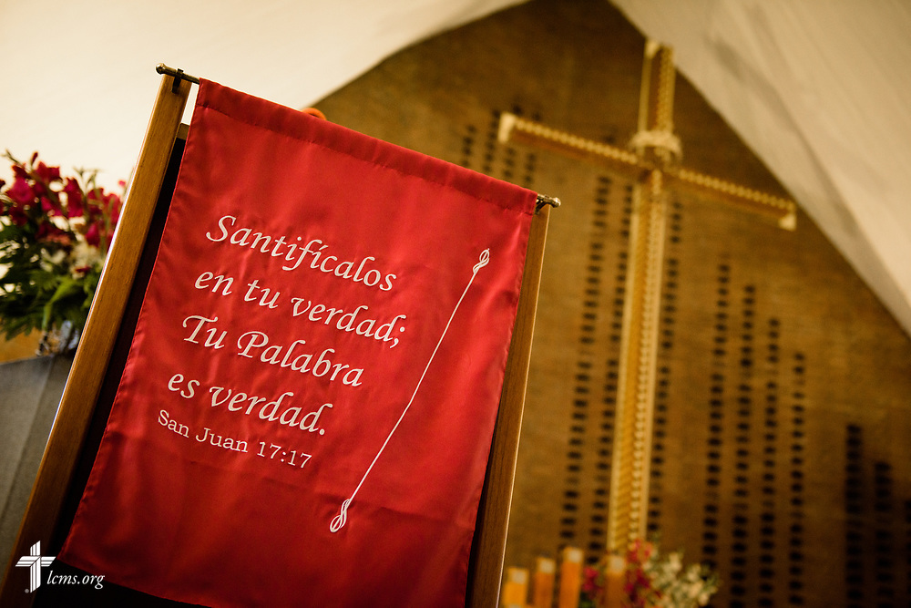 "John 17:17, ""Sanctify them in the truth; your word is truth,""  on Wednesday, Oct. 4, 2017, at Iglesia Luterana de Cristo Rey (Christ the King) in Guatemala City, Guatemala. LCMS Communications/Erik M. Lunsford"