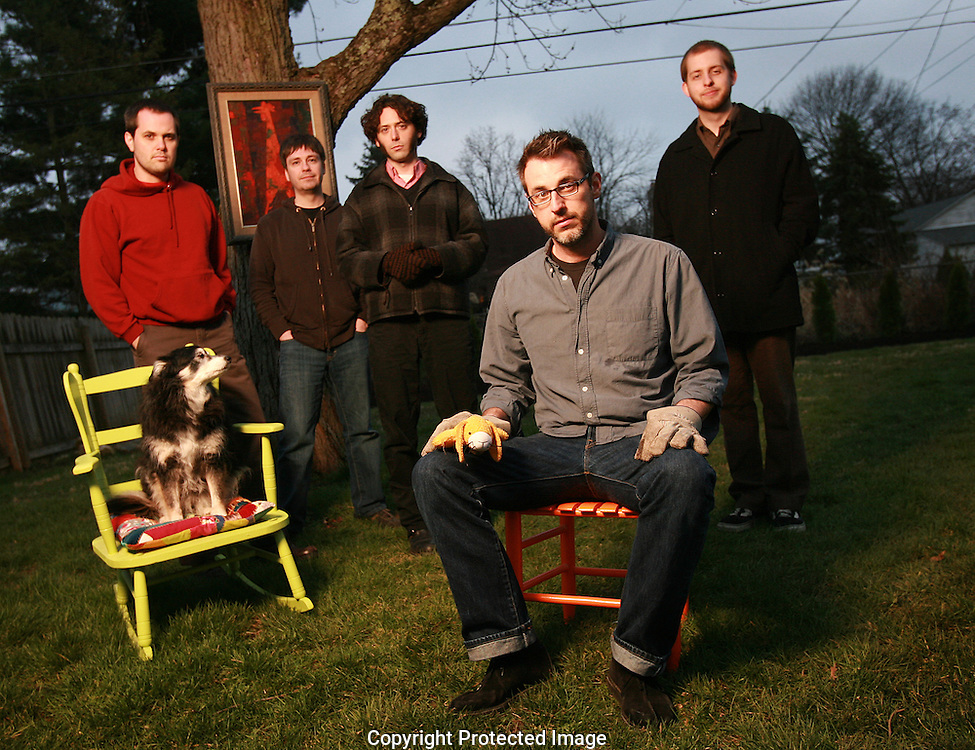 """Columbus band Black Swans are (left to right) Canaan Faulkner, """"Birdie"""" the dog, Keith Hanlon, Jerry DeCicca, Chris Forbes and Tyler Evans.(Jodi Miller/Alive)"""
