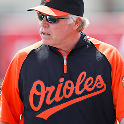 March 20, 2012; Sarasota, FL, USA; Baltimore Orioles manager Buck Showalter (26) against the Philadelphia Phillies during a spring training game at Ed Smith Stadium.  Mandatory Credit: Derick E. Hingle-US PRESSWIRE