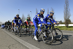 March 22, 2019 - Milan, Italie - MILANO, ITALY - MARCH 22 : SABATINI Fabio (ITA) of DECEUNINCK - QUICK - STEP, STYBAR Zdenek (CZE) of DECEUNINCK - QUICK - STEP, LAMPAERT Yves (BEL) of DECEUNINCK - QUICK - STEP, ALAPHILIPPE Julian (FRA) of DECEUNINCK - QUICK - STEP, DECLERCQ Tim (BEL) of DECEUNINCK - QUICK - STEP, GILBERT Philippe (BEL) of DECEUNINCK - QUICK - STEP, VIVIANI Elia (ITA) of DECEUNINCK - QUICK - STEP pictured during a training session a day prior to the UCI World Tour 110th Milan Sanremo cycling race with start in Milano and finish at the Via Roma in San Remo (291 kms) on March 22, 2019 in Milano, Italy, 22/03/2019 (Credit Image: © Panoramic via ZUMA Press)