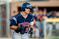 KELOWNA, BC - JULY 17:  Johnny Sage #32 of the Wenatchee Applesox runs for first base against the the Kelowna Falcons fpr at Elks Stadium on July 17, 2019 in Kelowna, Canada. (Photo by Marissa Baecker/Shoot the Breeze)