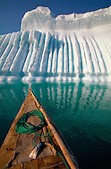 Kayak nose and iceberg, Qaanaaq, Greenland, Arctic