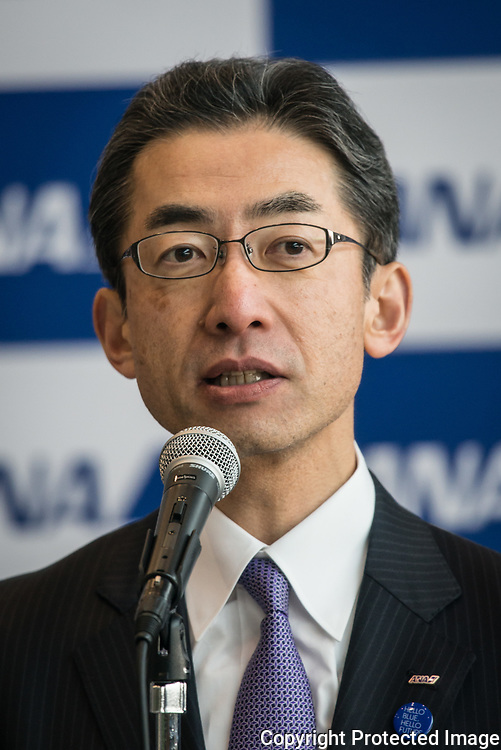 Holdings Inc. President and Chief Executive Officer Shinya Katanozaka speaks to the media after the welcome ceremony for newly hired employees at the company's hanger on April 1, 2017 in Tokyo, Japan. On April 1, 2017 in Tokyo, Japan. Japanese airlines ANA Holdings welcomed 2,800 new employees, the largest number to date for the company. As the majority of Japanese start their career on April 1st after graduating from schools in February or March, it is a custom for large Japanese corporations to hold mass welcoming ceremonies for their new employees. 01/04/2017-Tokyo, JAPAN