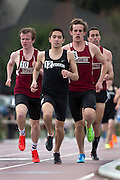 Bowdoin's Coby Horowitz leads John Stansel '15 (left) and Nick Barron '13 at the State of Maine Championship on April 20, 2013.