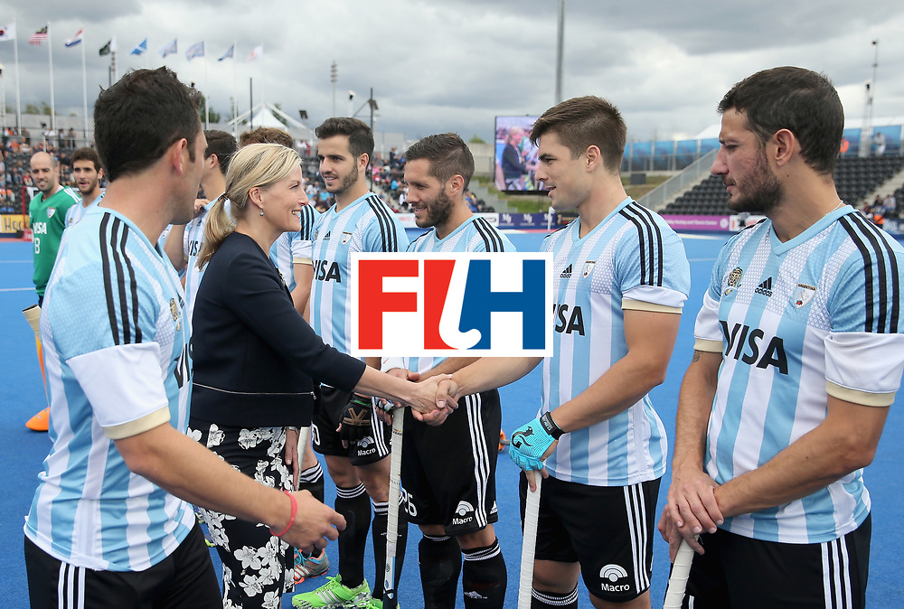 LONDON, ENGLAND - JUNE 25:  Sophie, Countess of Wessex meets the Argentina players during the final match between Argentina and the Netherlands on day nine of the Hero Hockey World League Semi-Final at Lee Valley Hockey and Tennis Centre on June 25, 2017 in London, England.  (Photo by Alex Morton/Getty Images)