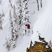 Griffon Post drops a cliff in-bounds in the Alta 0 closure - open because of snowfall totals.