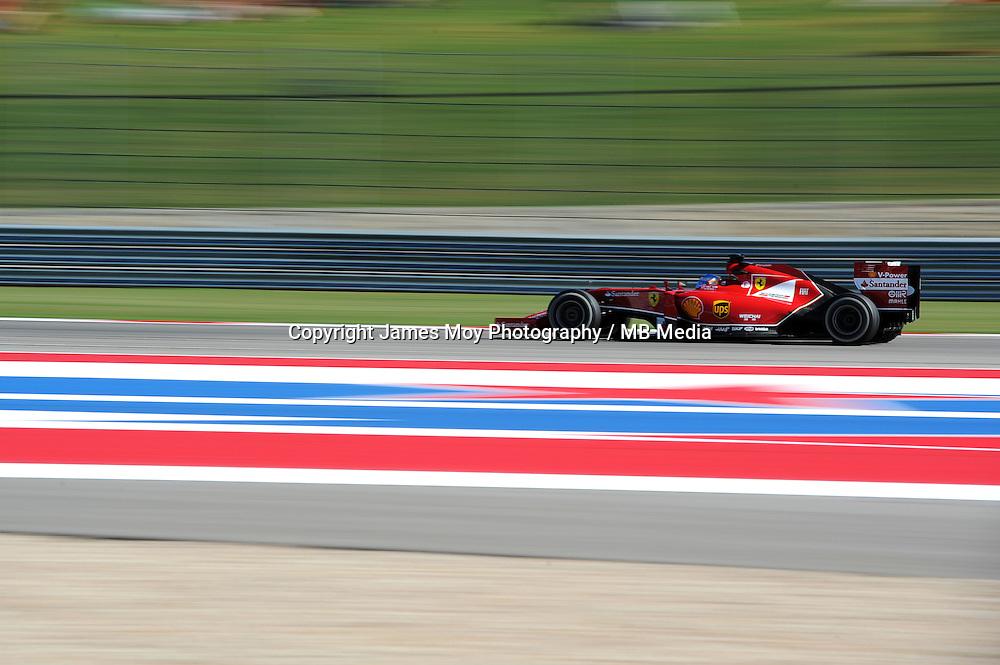 Fernando Alonso (ESP) Ferrari F14-T.<br /> United States Grand Prix, Friday 31st October 2014. Circuit of the Americas, Austin, Texas, USA.