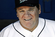 Pete Rose sits in the dugout at The Ballpark at Harbor Yard in Bridgeport, Conn.(AP Photo/Jessica Hill, File)