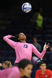 October 7, 2018 - Tucson, AZ, U.S. - TUCSON, AZ - OCTOBER 07: Arizona Wildcats middle blocker Devyn Cross (13) serves the ball during a college volleyball game between the Arizona Wildcats and the Washington State Cougars on October 07, 2018, at McKale Center in Tucson, AZ. Washington State defeated Arizona 3-2. (Photo by Jacob Snow/Icon Sportswire) (Credit Image: © Jacob Snow/Icon SMI via ZUMA Press)