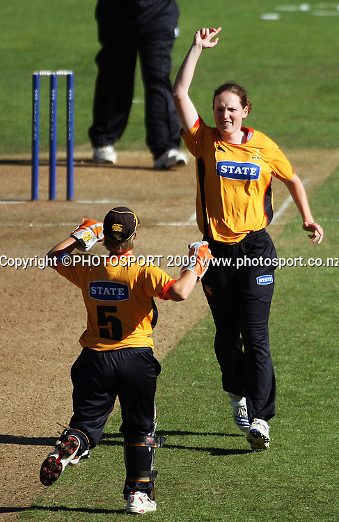 Amanda Cooper celebrates dismissing Beth McNeill with keeper Andrea Stockwell.<br /> State League final. Wellington Blaze v Canterbury Magicians at Allied Prime Basin Reserve, Wellington. Saturday, 24 January 2009. Photo: Dave Lintott/PHOTOSPORT