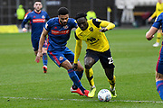 Oxford United forward Dan Agyei (23) battles for possession  with Sunderland defender Jordan Willis (4) during the EFL Sky Bet League 1 match between Oxford United and Sunderland at the Kassam Stadium, Oxford, England on 15 February 2020.