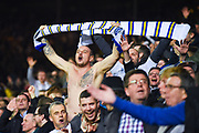 Leeds United fans celebrates Patrick Bamford of Leeds United (9) scoring a goal to make the score 3-0 during the EFL Sky Bet Championship match between Leeds United and West Bromwich Albion at Elland Road, Leeds, England on 1 March 2019.