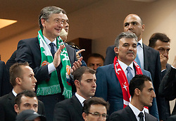 Dr. Danilo Turk, president of Slovenia and Abdullah Gul, president of Turkey during the quarter-final basketball match between National teams of Turkey and Slovenia at 2010 FIBA World Championships on September 8, 2010 at the Sinan Erdem Dome in Istanbul, Turkey.  Turkey defeated Slovenia 95 - 68. (Photo By Vid Ponikvar / Sportida.com)