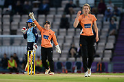 Tammy Beaumont of Southern Vipers appeals to the umpire for the run out of Alyssa Healy during the Women's Cricket Super League match between Southern Vipers and Yorkshire Diamonds at the Ageas Bowl, Southampton, United Kingdom on 21 August 2019.
