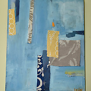Fragments 1, 2015<br /> oil &amp; fabric<br /> 16&quot;x20&quot;<br /> $100<br /> by Dona Leon