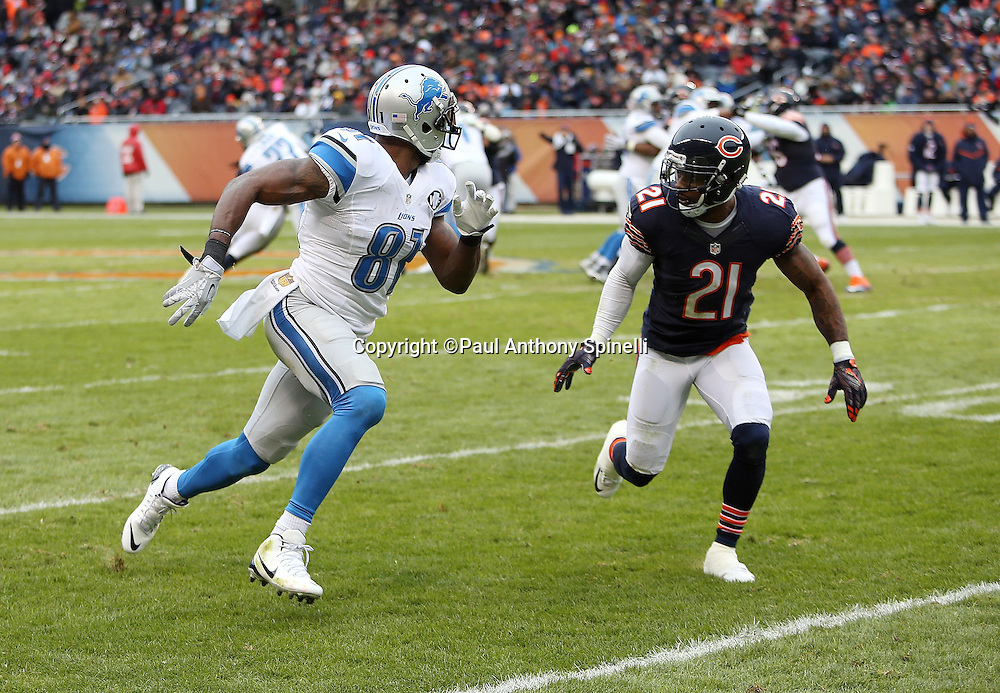 Detroit Lions wide receiver Calvin Johnson (81) goes out for a pass while covered by Chicago Bears cornerback Tracy Porter (21) with less than a minute left in the second quarter during the NFL week 17 regular season football game against the Chicago Bears on Sunday, Jan. 3, 2016 in Chicago. The Lions won the game 24-20. (©Paul Anthony Spinelli)