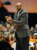 Nov 03, 2011; Knoxville, TN, USA;  Tennessee Volunteers head coach Cuonzo Martin watches his team play the Carson Newman Eagles at Thompson Boling Arena. Tennessee won by a score of 73 to 52.  Mandatory Credit: Randy Sartin-US PRESSWIRE