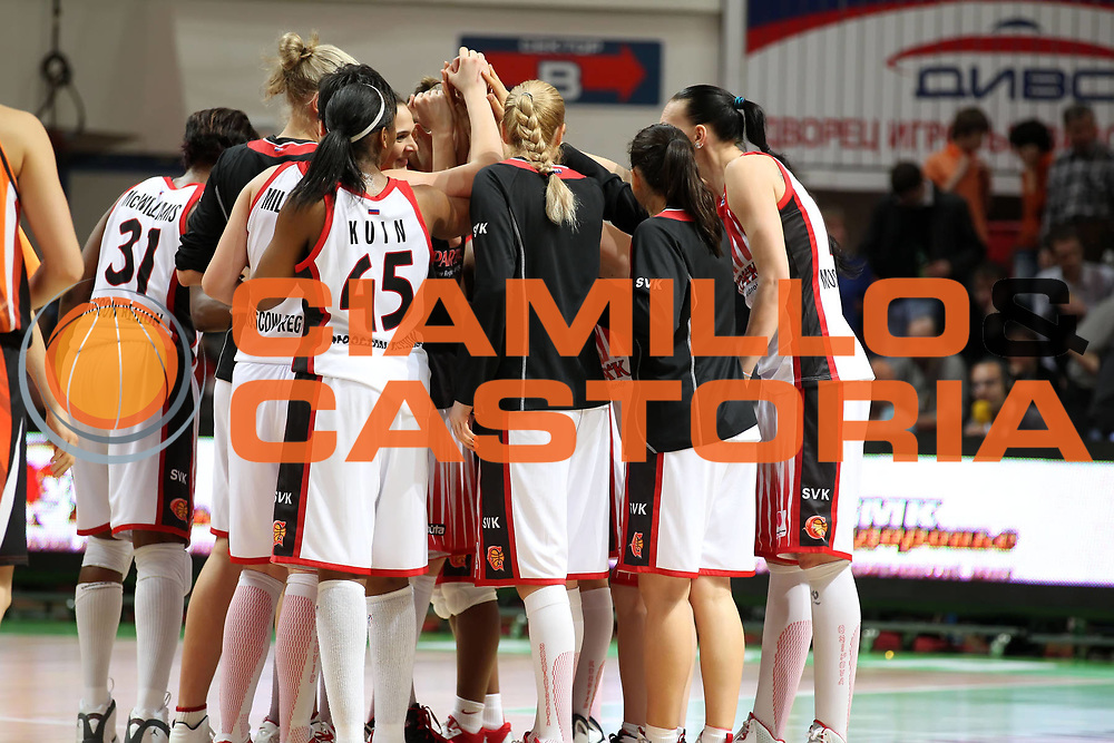 DESCRIZIONE : Ekaterinburg Fiba Euroleague Women 2010-2011 Final Four Semi-Final Sparta&amp;K Moscow Region Vidnoje UMMC Ekaterinburg<br /> GIOCATORE : la squadra the team<br /> SQUADRA : Sparta&amp;K Moscow Region Vidnoje<br /> EVENTO : Euroleague Women<br /> 2010-2011<br /> GARA : Sparta&amp;K Moscow Region Vidnoje UMMC Ekaterinburg<br /> DATA : 08/04/2011<br /> CATEGORIA : esultanza<br /> SPORT : Pallacanestro <br /> AUTORE : Agenzia Ciamillo-Castoria/ElioCastoria<br /> Galleria : Fiba Europe Euroleague Women 2010-2011 Final Four<br /> Fotonotizia : Ekaterinburg Fiba Euroleague Women 2010-2011 Final Four Semi-Final Sparta&amp;K Moscow Region Vidnoje UMMC Ekaterinburg<br /> Predefinita :
