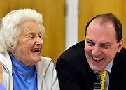 © Licensed to London News Pictures. 25/02/2013. Eastleigh, UK. SIMON HUGHES. Deputy Leader of the Liberal Democrats Simon Hughes and Liberal Democrat candidate Mike Thornton visit an OAP lunch whilst campaigning in the by-election at Pavillion in the Park in Eastleigh today 25th February 2013. Photo credit : Stephen Simpson/LNP